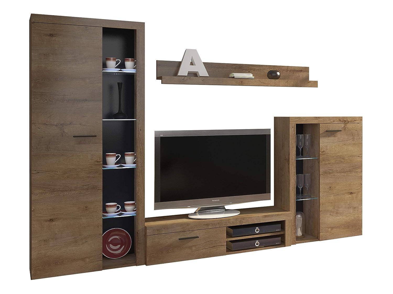 Wohnwand Rango, Design Wohnzimmer Set, Modernes Anbauwand, Schrankwand, Vitrine, TV Lowboard, Mediawand, (mit Beleuchtung, Lefkas Eiche)