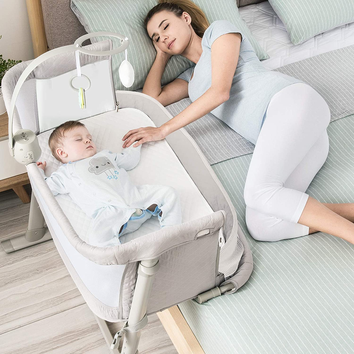 Amazon Com Baby Bassinet Ronbei Bedside Sleeper Baby Bed Cribs Baby Bed To Bed Newborn Baby Crib Adjustable Portable Bed For Infant Baby Boy Baby Girl Bassinet Baby