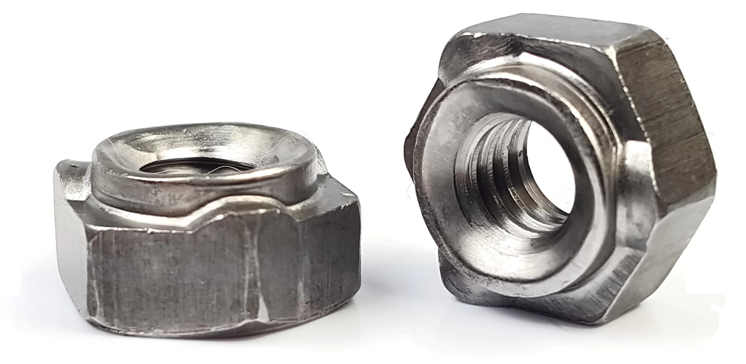 Hex Weld Nuts Steel Long Pilot 3 Projections - UNC Coarse Sizes - QTY 250 (3/8''-16)