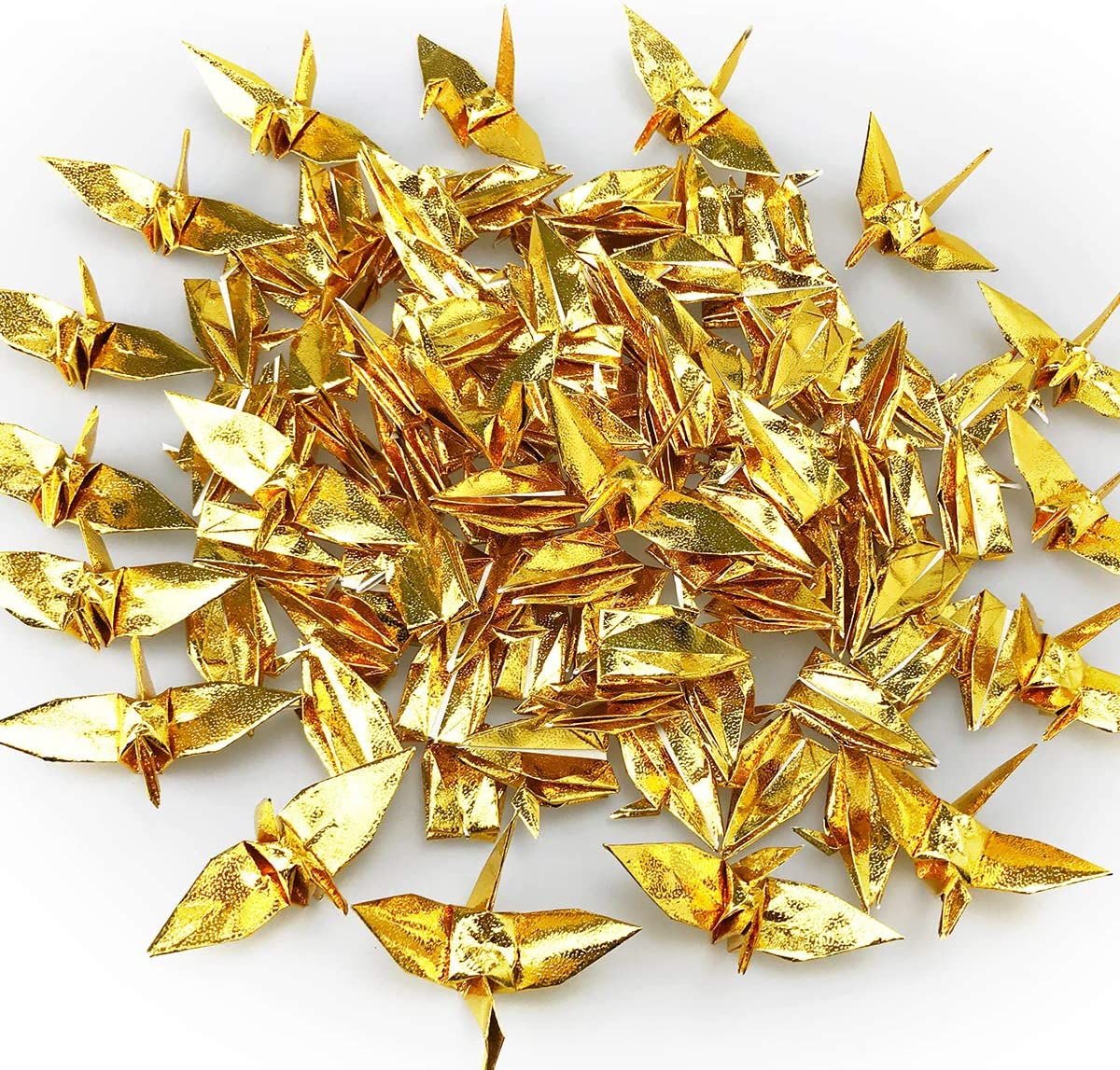 Hand-Made Folded DIY Japanese Crane Mobile String Garland for Wedding Baby Shower Party Banner Hanging Backdrop Home Decoration 100 PCS Origami Paper Cranes Glitter Gold