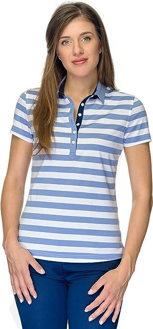 JELFY Manon Mujer Golf Camiseta a Rayas, 100% Pima de algodón ...