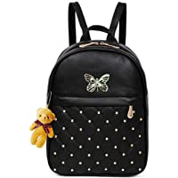 ShopyVid Women's PU Leather Teddy Keychain Stylish Backpack, Black
