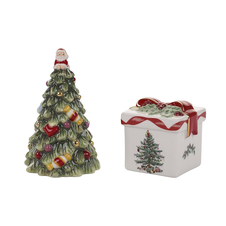 amazoncom spode christmas tree tree salt and pepper gift box set gold serveware accessories - Christmas Tree Box