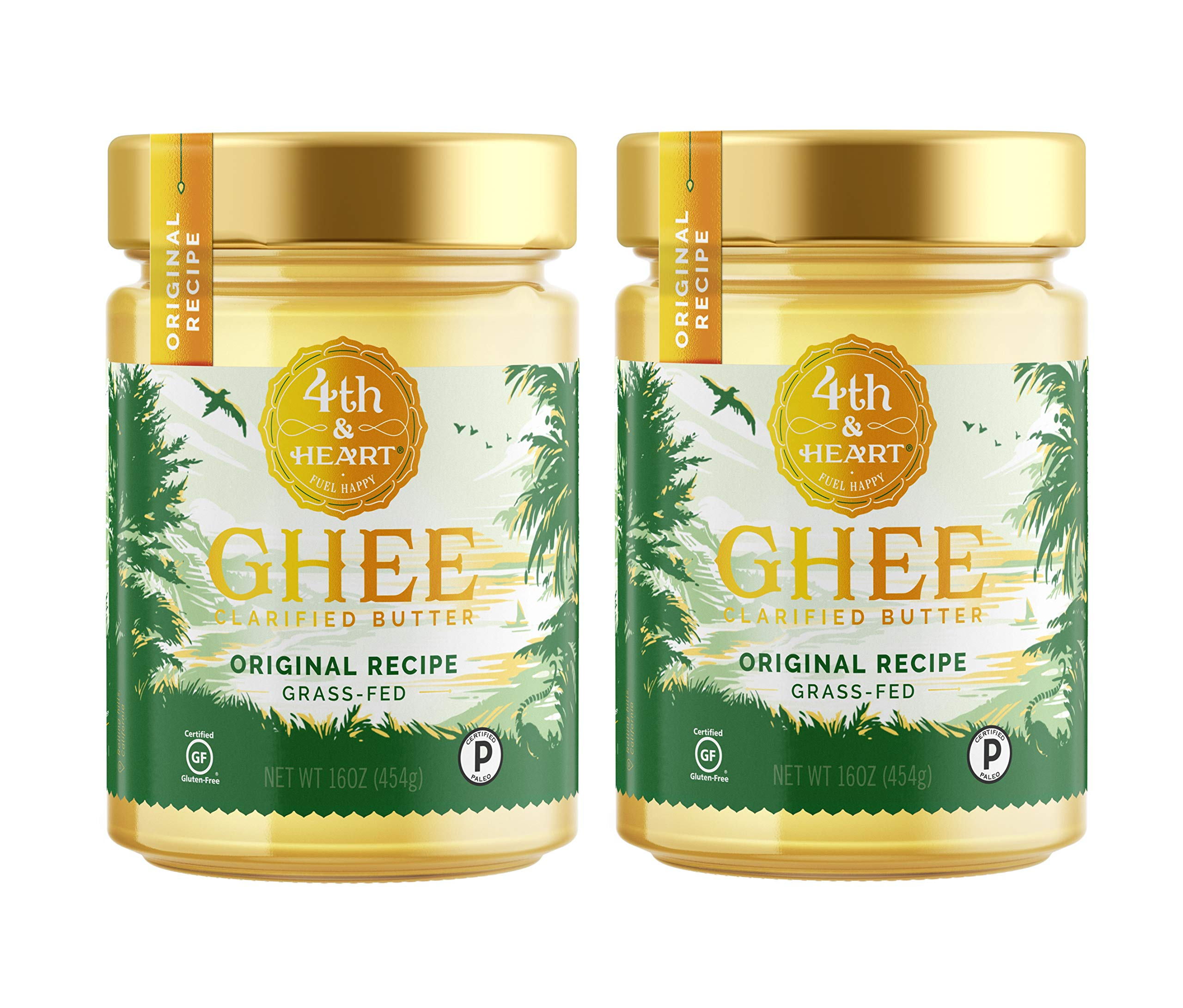 Original Grass Fed Ghee Butter by 4th & Heart, 32 Ounce (2 x 16oz Jars), Pasture Raised, Non-GMO, Lactose and Casein Free, Certified Paleo, Keto-Friendly