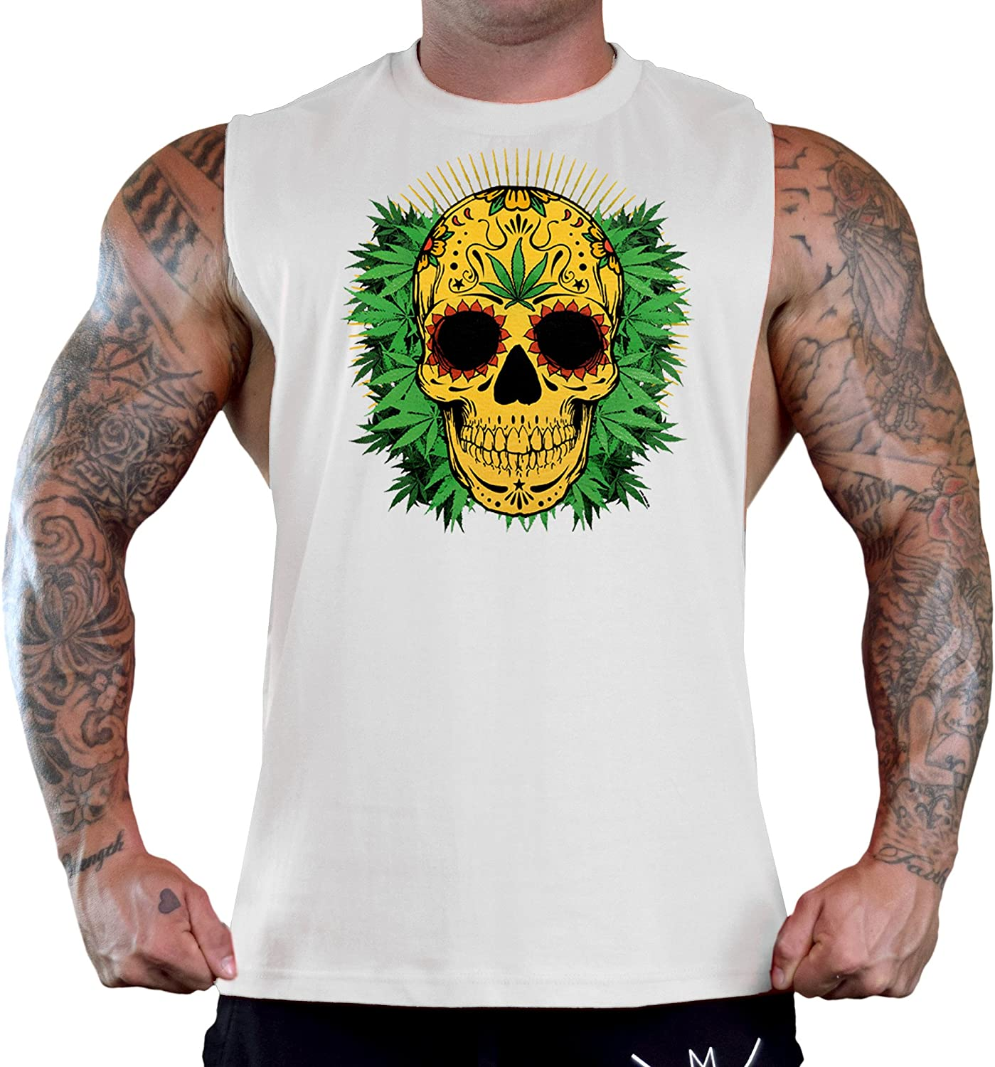 Mens 420 Yellow Sugar Skull White Gym T-Shirt Tank Top