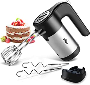 Electric Hand Mixer, 300W Ultra Power Handheld Mixers with 5 Speeds, Black Mixer for kitchen with Turbo Button, Easy Eject Button and 4 Stainless Steel Attachments (2 Beaters and 2 Dough Hooks)