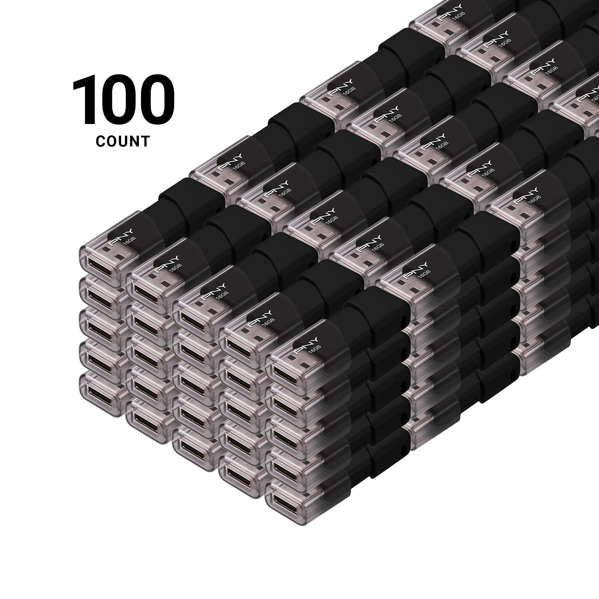 PNY Attache USB 2.0 Flash Drive, 16GB/ Black/ 100 Pack (P-FD16GX100ATT03-MP)