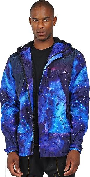 Pizoff Hombre Fashion Hip Hop Chaqueta de Galaxia Nebulosa de Cielo Azul con Capucha XK001-1-M-Blue: Amazon.es: Ropa y accesorios