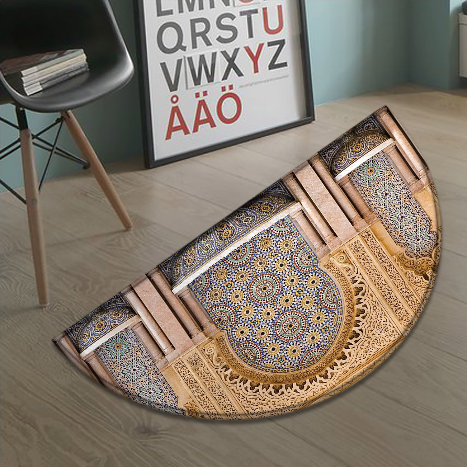 cobeDecor Moroccan Half Round door mats for inside Typical Moroccan Tiled Fountain in the City of Rabat Near Hassan Tower Bath Mat for tub Bathroom Mat Apricot Pale Brown