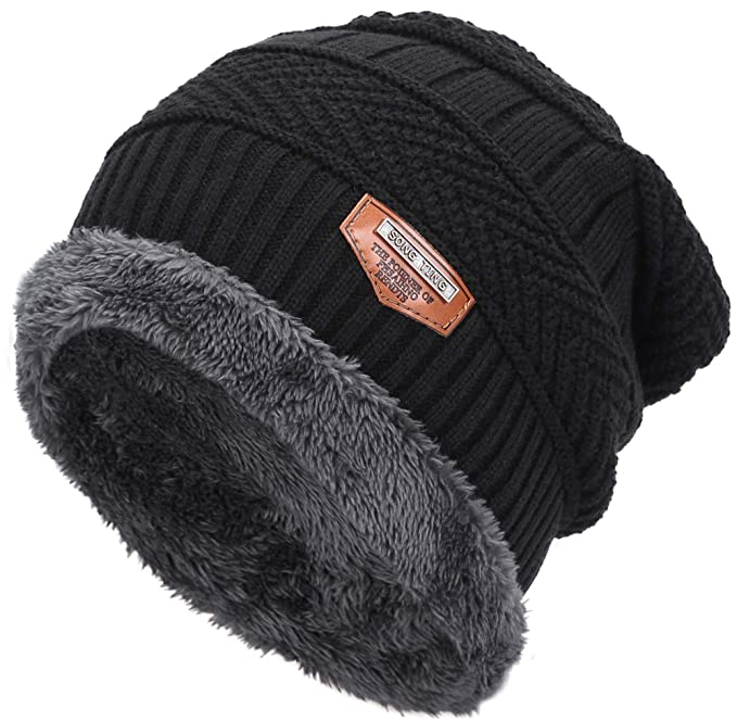 Classic Men s Thick Warm Winter Fleece Lining Knit Beanie Hat Baggy  Oversize Slouchy Stocking Skull Cap ac20ac97324