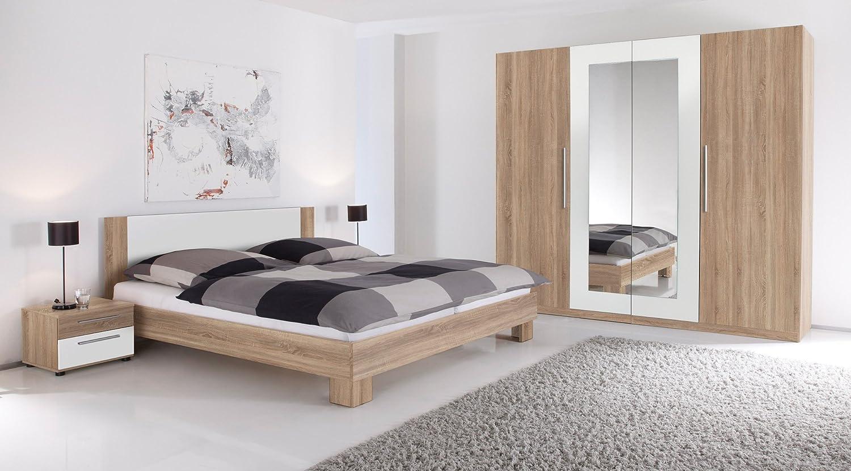 Moebel-eins MARTINA Komplett-Schlafzimmer Eiche Sonoma Nachbildung MDF weiß