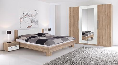 Martina Komplett-Schlafzimmer Eiche Sonoma/Weiß: Amazon.De: Küche