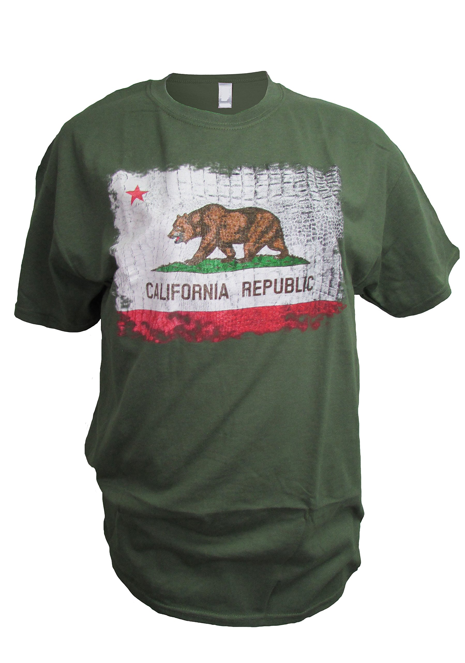 California Flag Snake Skin Texture Distressed Vintage Print Men's T-Shirt (Large)