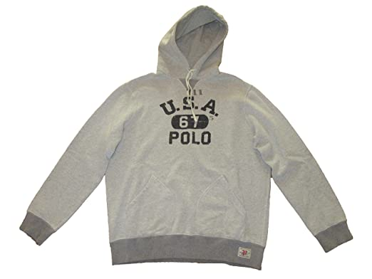 official photos a31bd 259d7 Ralph Lauren Polo Mens USA 67 Gym Hooded Sweatshirt Grey (X ...