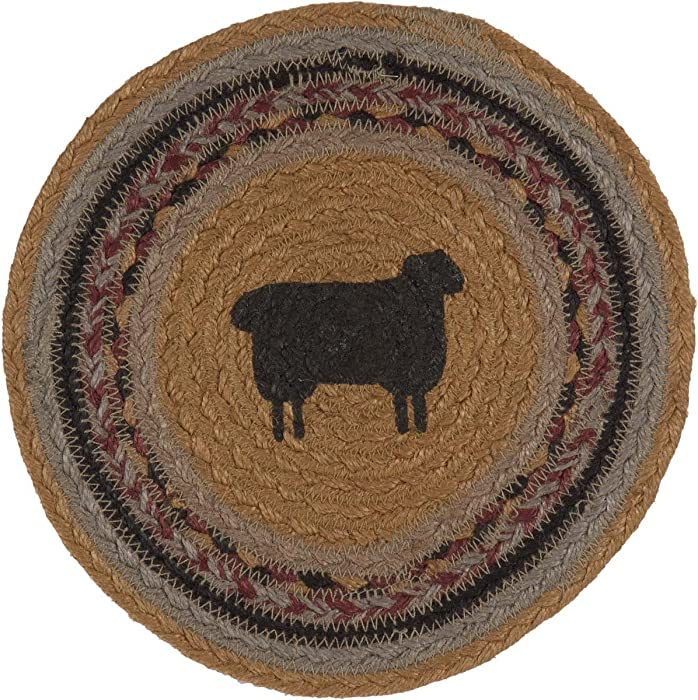 VHC Brands Primitive Tabletop & Kitchen - Heritage Farms Tan Sheep Jute Trivet, Green