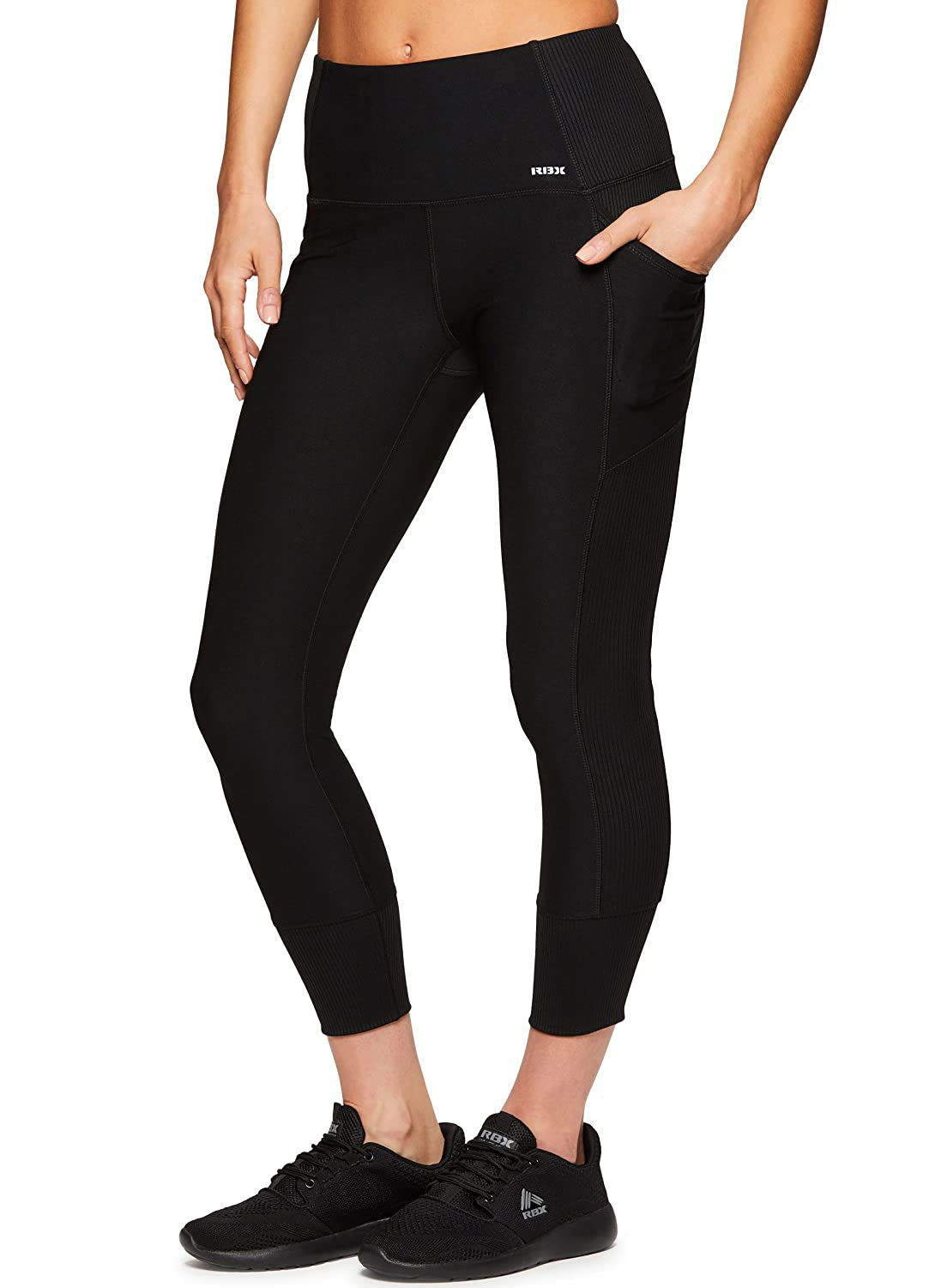 RBXアクティブレディースCapri Legging with Mesh Inserts and Xストラップ B07CMM68CN Small|Tech Black Tech Black Small