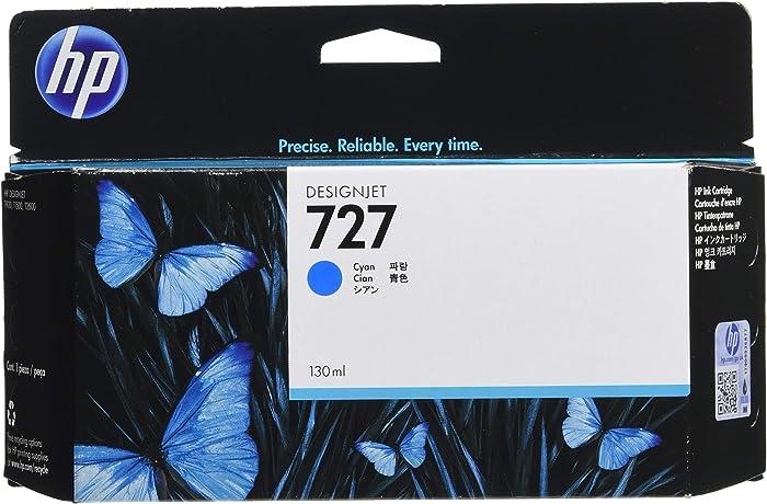 HP HEWB3P19A 727 Ink Cartridge, Cyan Standard Yield