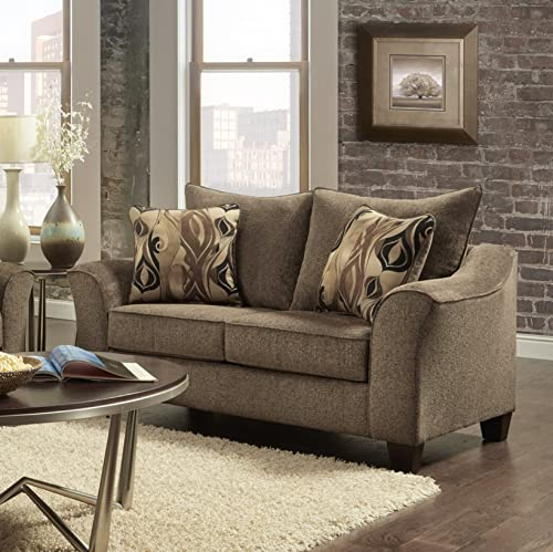 Roundhill Furniture Camero Cafe Fabric Pillowback Loveseat