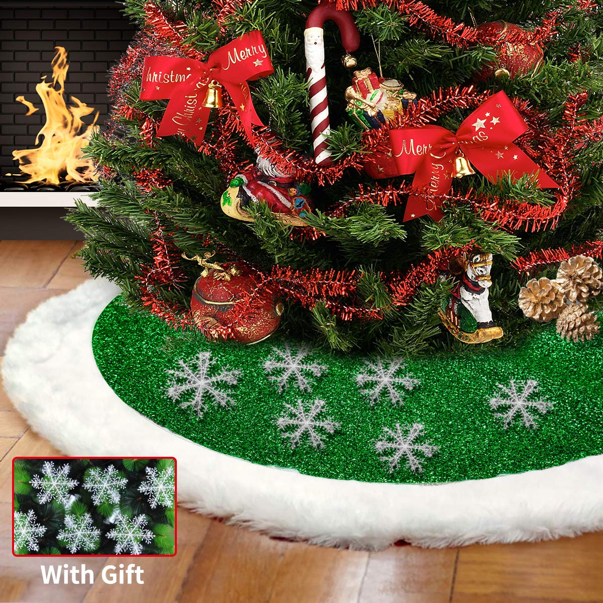 Christmas Tree Skirt 48 Inches Green And White Plush Faux Fur