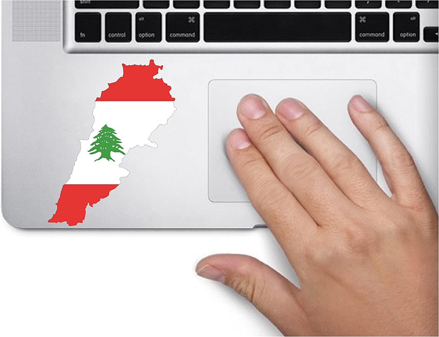 Map with Flag Inside Lebanon 4x2 inches Sticker Decal die Cut Vinyl - Made and Shipped in USA