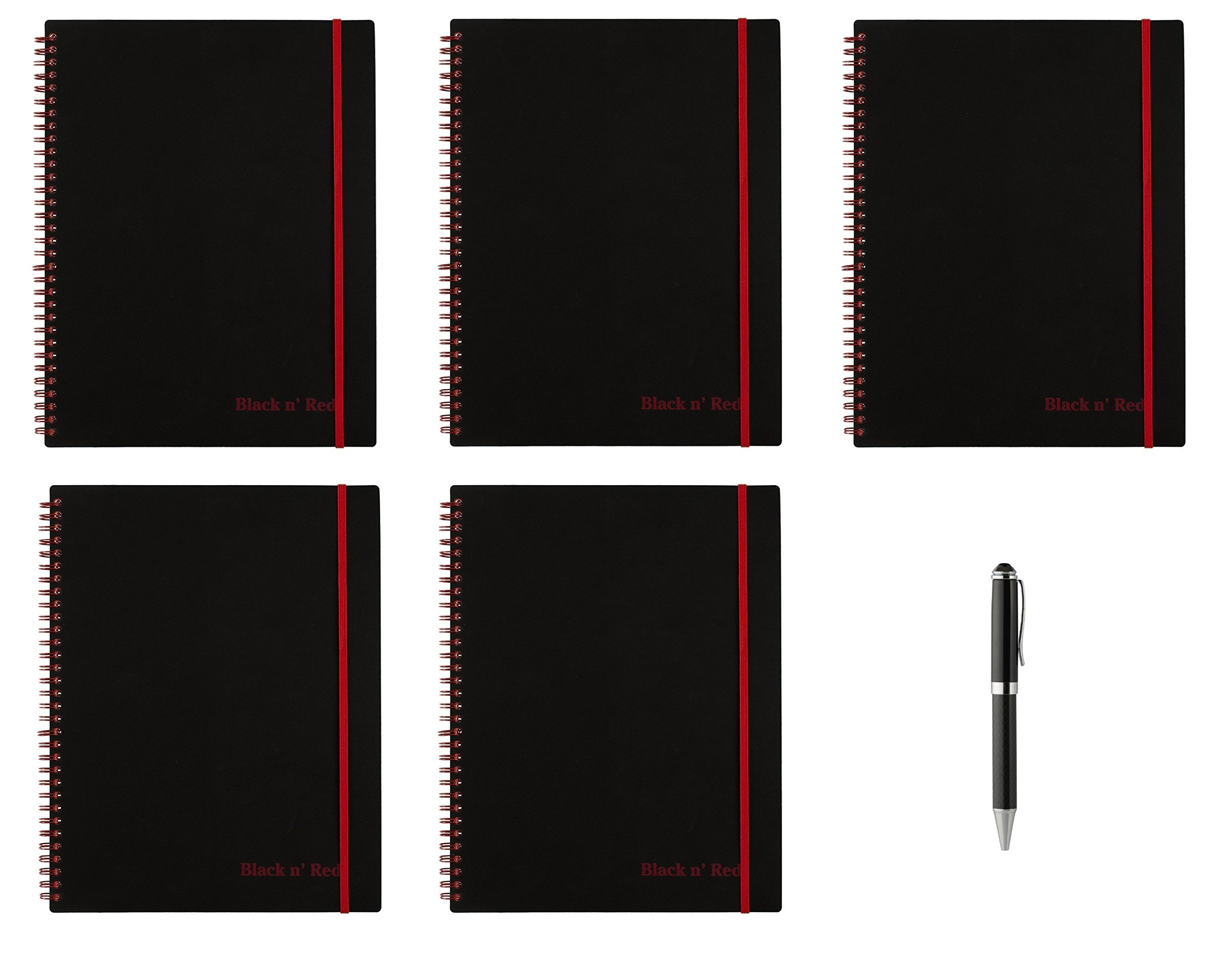 Black n' Red Twin Wire Poly Cover Notebook, 11'' x 8-1/2'', Black/Red, 70 Ruled Sheets. 5 Pack (K66652) - Bundle Includes Plexon Ballpoint Pen