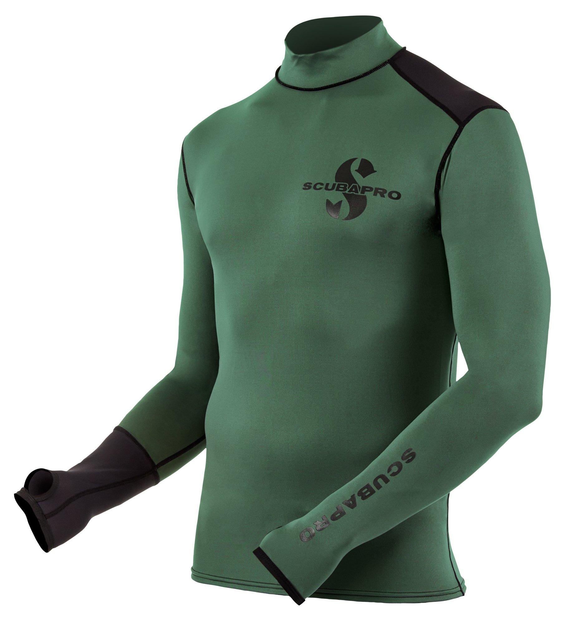 Scubapro Men's Eco Long Sleeve Rash Guard (Army Green, X-Large)