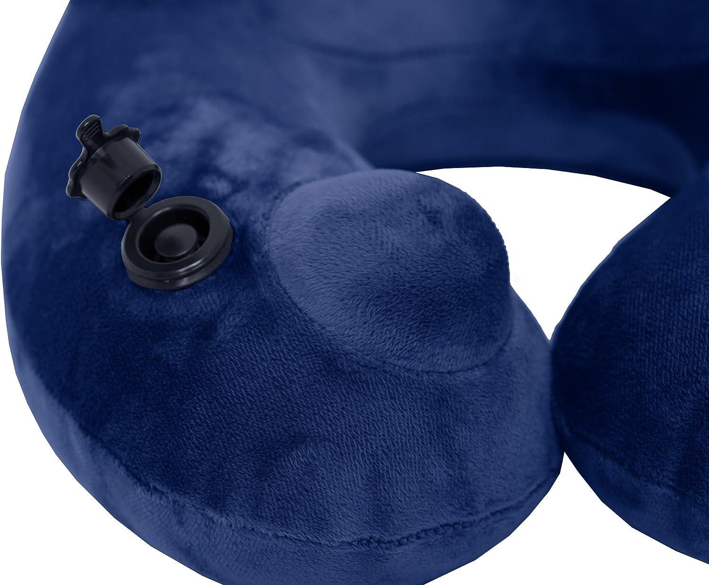 Dunkelblau aufpumpbares Reise Nackenh/örnchen Travelstar-Edition daydream Aufblasbares Premium Nackenkissen mit integrierter Pumpe