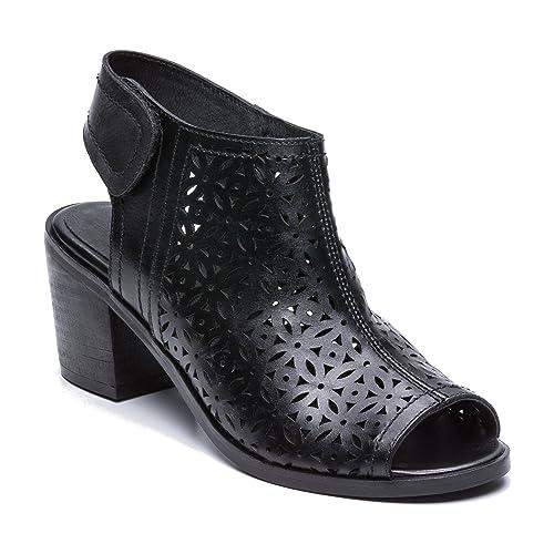 Zerimar Botines de Piel para Mujer| Botines Calados Verano | Botines Calados Primavera Mujer | Peep Toe Mujer: Amazon.es: Zapatos y complementos