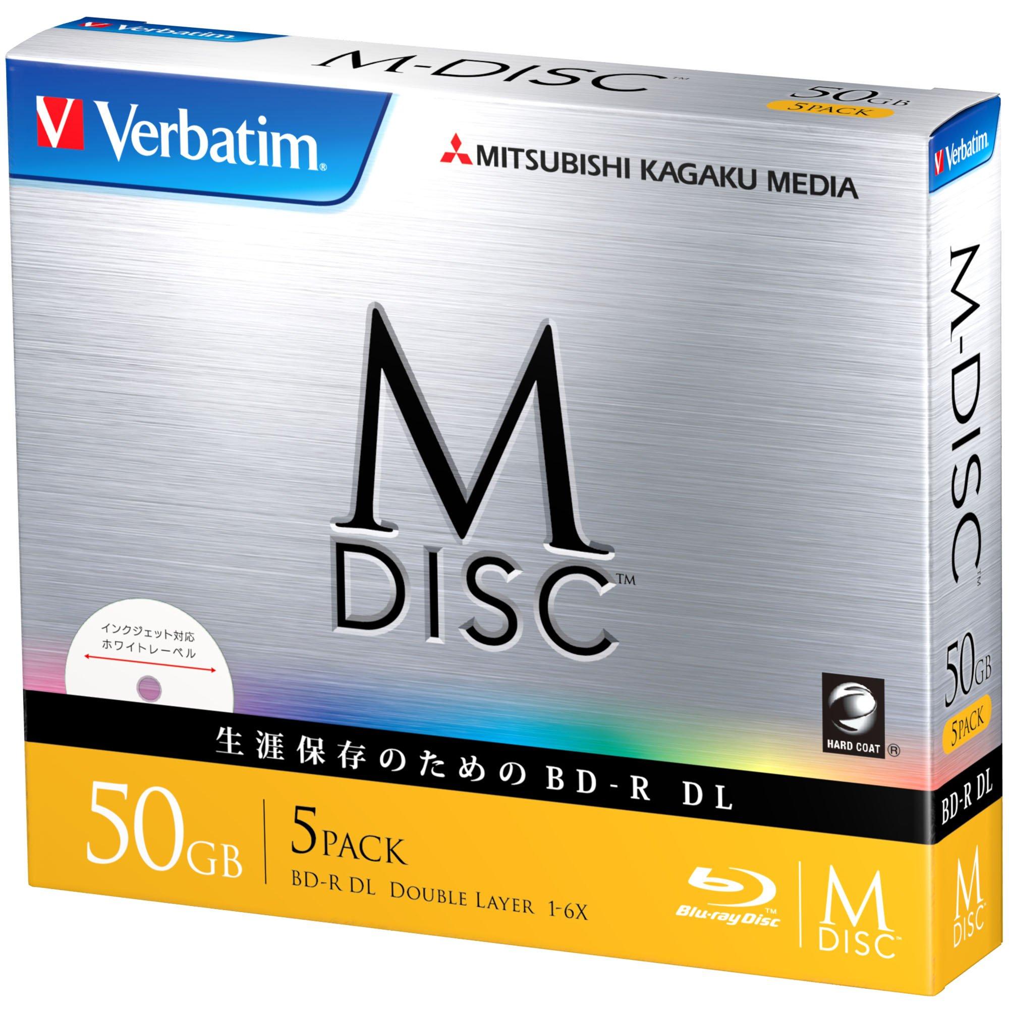 1000 Years Archival Verbatim M-Disc BD-R DL Inkjet Printable | 50GB 6x Speed | 5 Pack Jewel Case