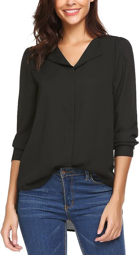 Damen Long Arm Bluse Top Polka Dot Freizeit Lose Knopf Elegant Tunika Shirt Hemd