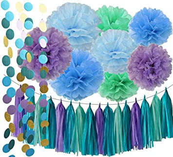 Under The Sea Party Supplies/Mermaid Decorations Teal Purple Blue Mint  Tissue Pom Poms First