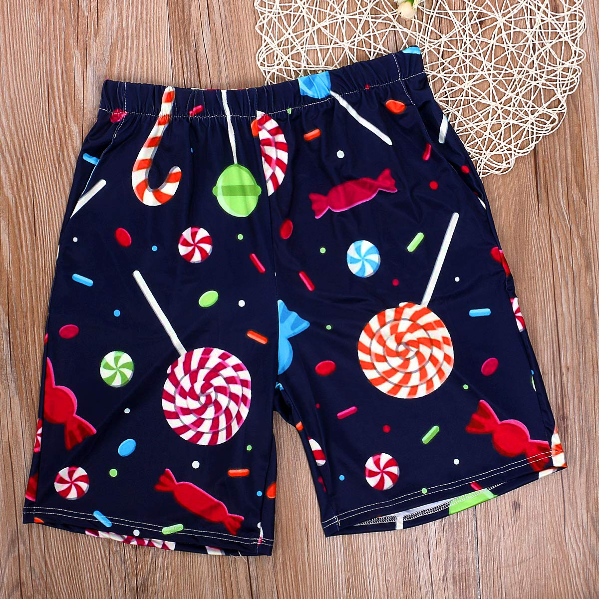 Cute Lollipop Family Matching Swimsuit Mother and Daughter Swimwear Father and Son Matching Swim Trunks
