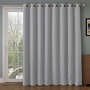 Rose Home Fashion RHF Function Curtain-Wide Thermal Blackout Patio Door Curtain Panel, Sliding Door Insulated Curtains,Extra Wide Curtains,Vertical Blinds,Grommet Curtains(Grey-100 by 96 Inches)