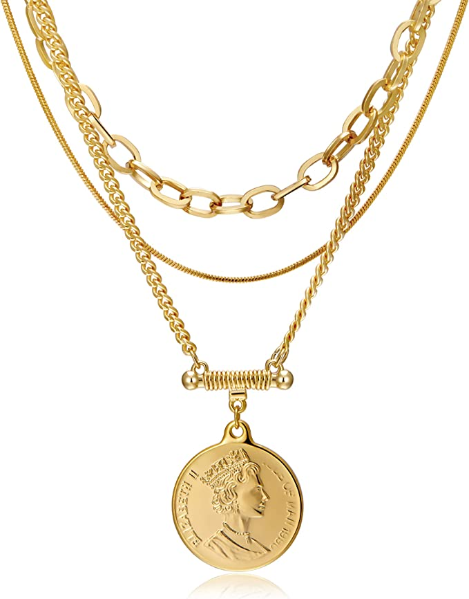 Handmade 18K Gold Plated Coin Pendant Necklace Multilayer Disc Necklace Chunky Chain Adjustable Layering Choker Necklaces for Women Jewelry