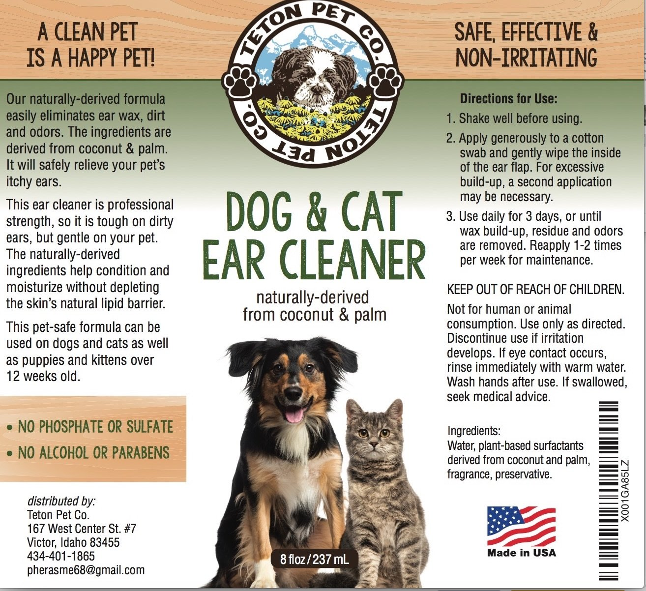 Teton Pet Co 's Dog and Cat Ear Cleaner With All Naturally Derived  Ingredients Will Keep Your Best Friends Ears As Squeaky Clean As The Rocky  Mountain