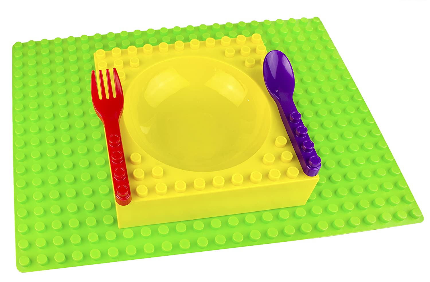 Placematix Kids Dinner Set - Eat, Play, and Learn - Innovative and Reliable Design - Safe and Non-Toxic - Microwave and Dishwasher Safe - Includes Green Placemat, Yellow Bowl, Purple Spoon, and Red Fork by Placematix   B00V54BAYU