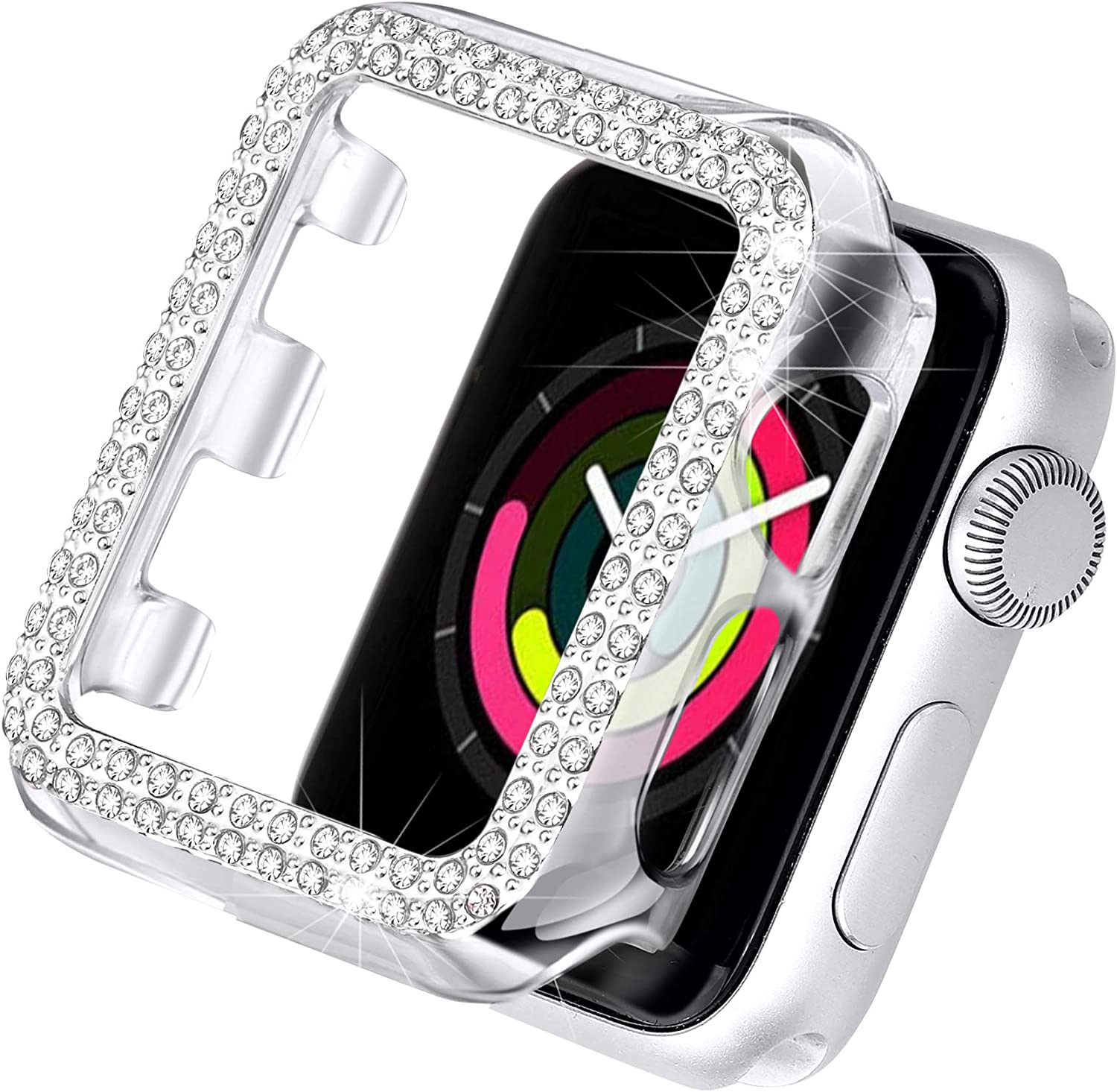 Secbolt Bling Case Compatible with Apple Watch 38mm, Full Cover Bumper Screen Protector for iWatch Series 3 2 1 (Clear-38mm)