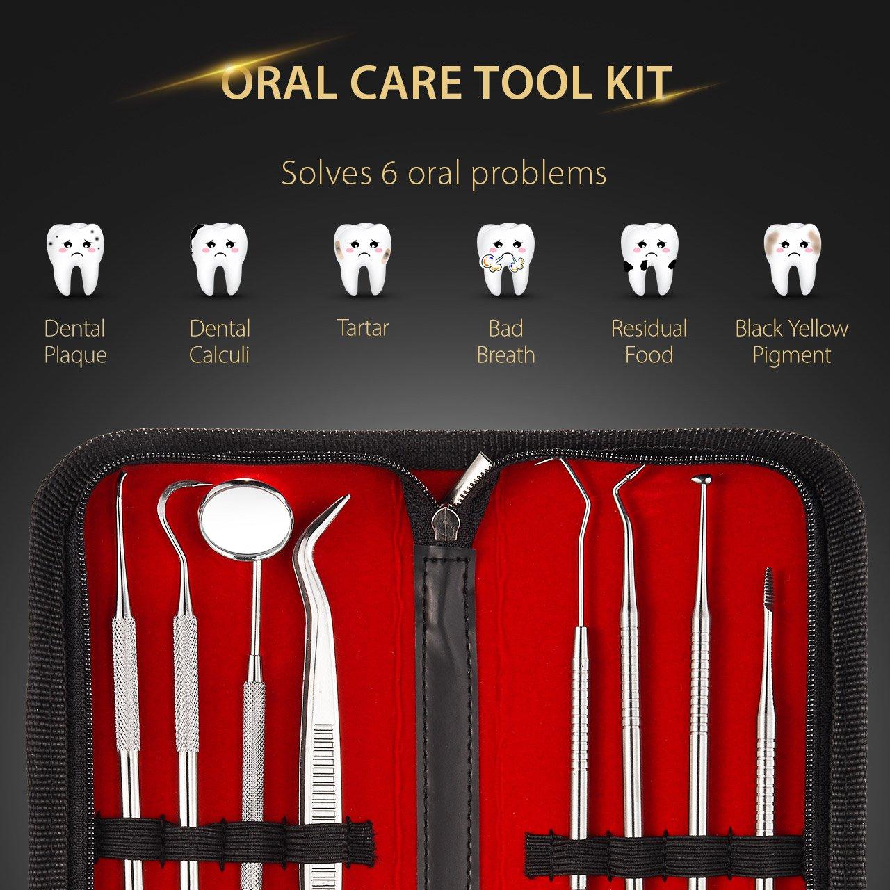 Dental Tools, ElleSye 8 PACK Dental Pick Oral Care Kit, Stainless Steel Dental Hygiene Kit Set, Tooth Scraper Plaque Tartar Dental Scaler Tweezers Mouth Mirror for Personal & Pet Oral Care Use by ELLESYE (Image #2)