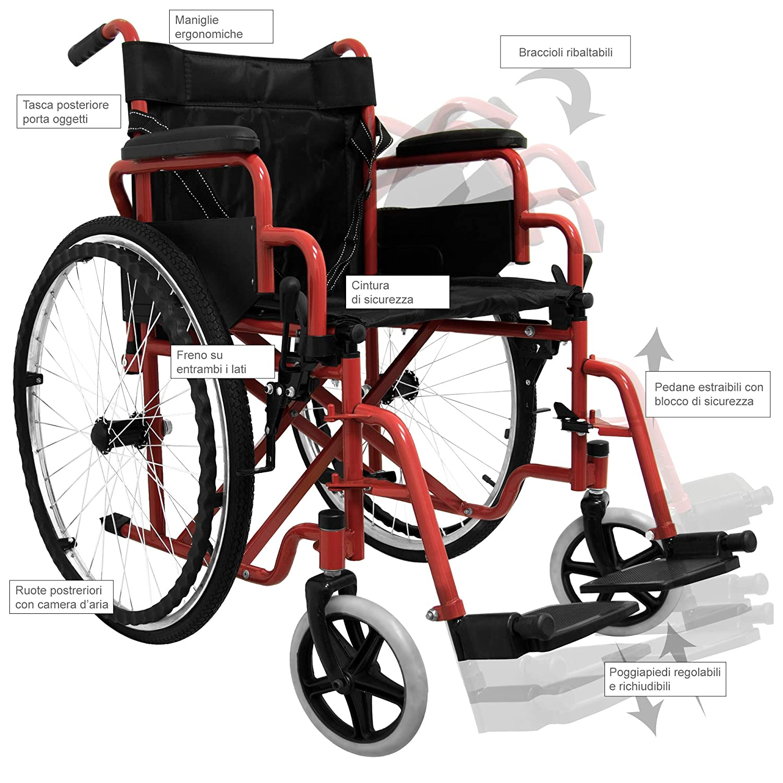 medicalpharm® carrito silla de ruedas autopropulsable, silla de ruedas Cochecito Ruedas para mayores y discapacitados, Compartimento de almacenamiento, ...