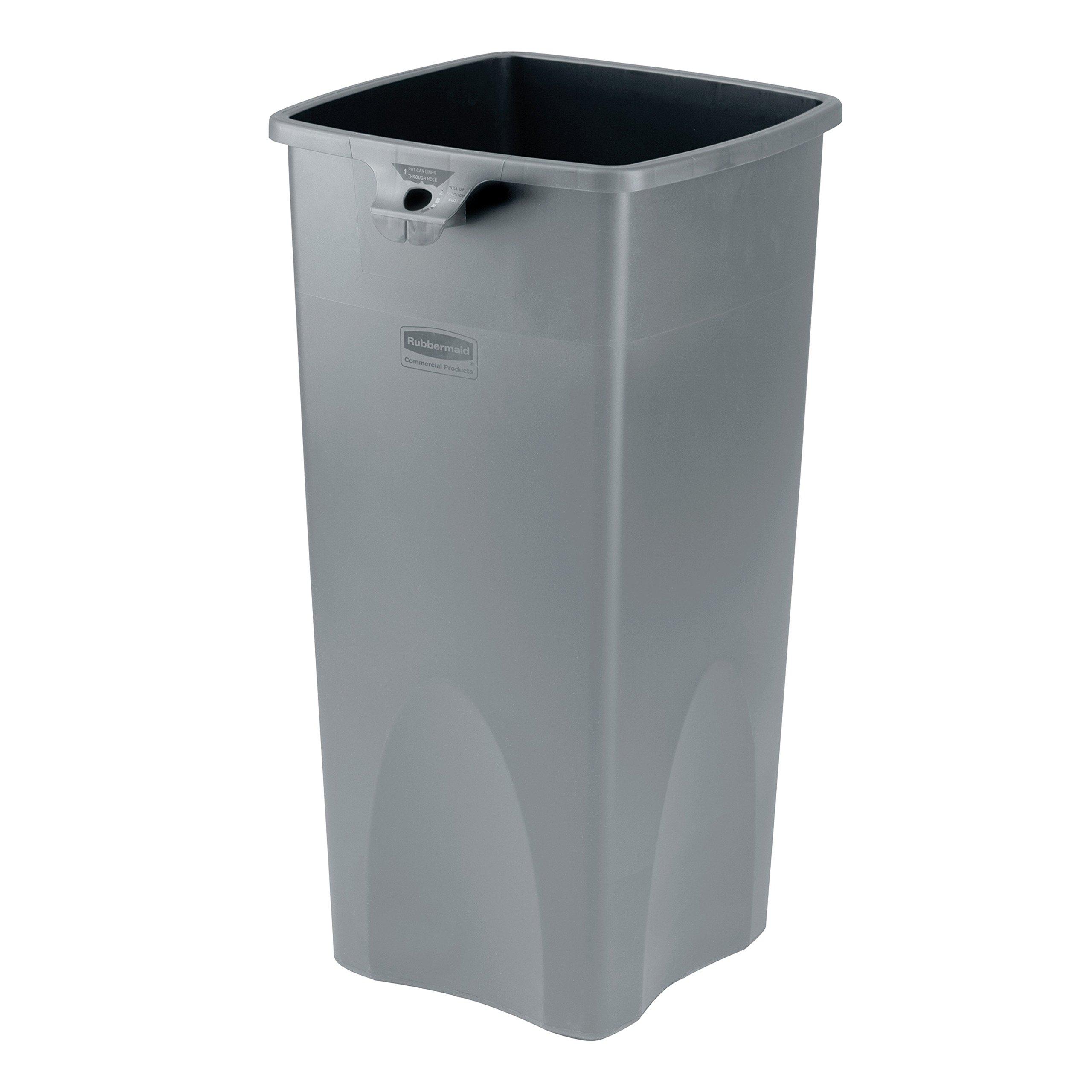 Rubbermaid Commercial FG356988GRAY Square 23-Gallon Untouchable Trash Can, Gray