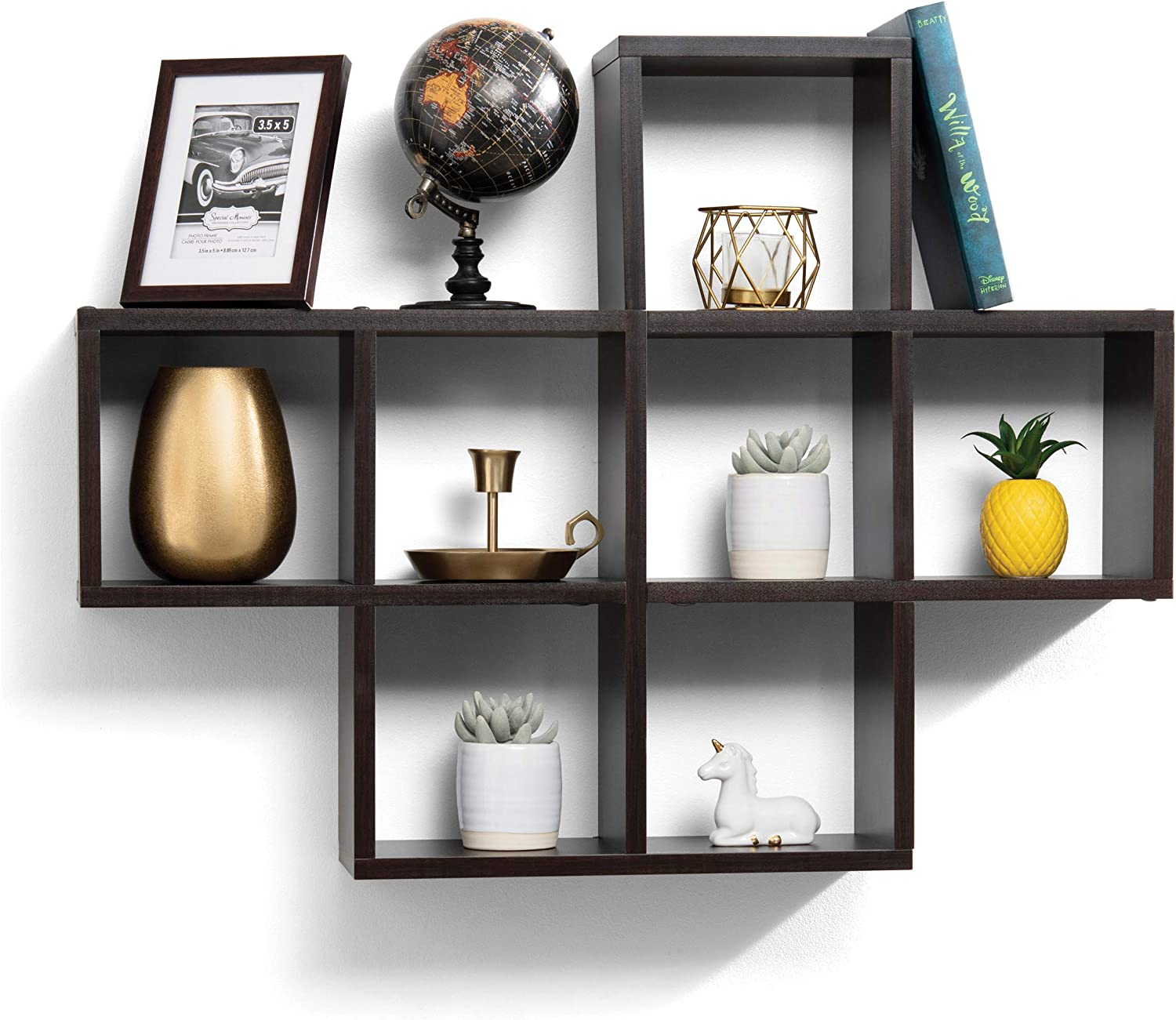 floating shelves with 10 square Cube wall shelves - Espresso Finish wall mounted shelves - Decorative Contemporary modern floating wall shelves - floating wood shelves great for Bedroom or Living Room
