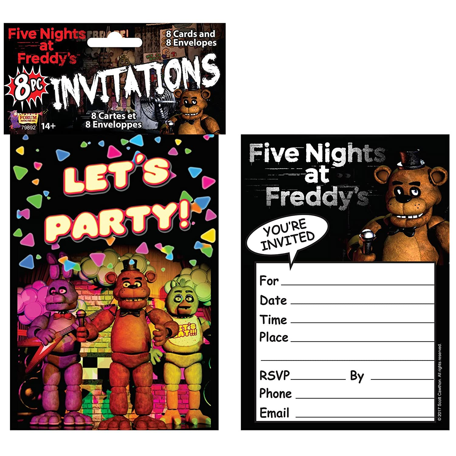 BUYSEASONS Five Nights At Freddys Birthday Party Invitations 8 Pack Amazoncouk Toys Games