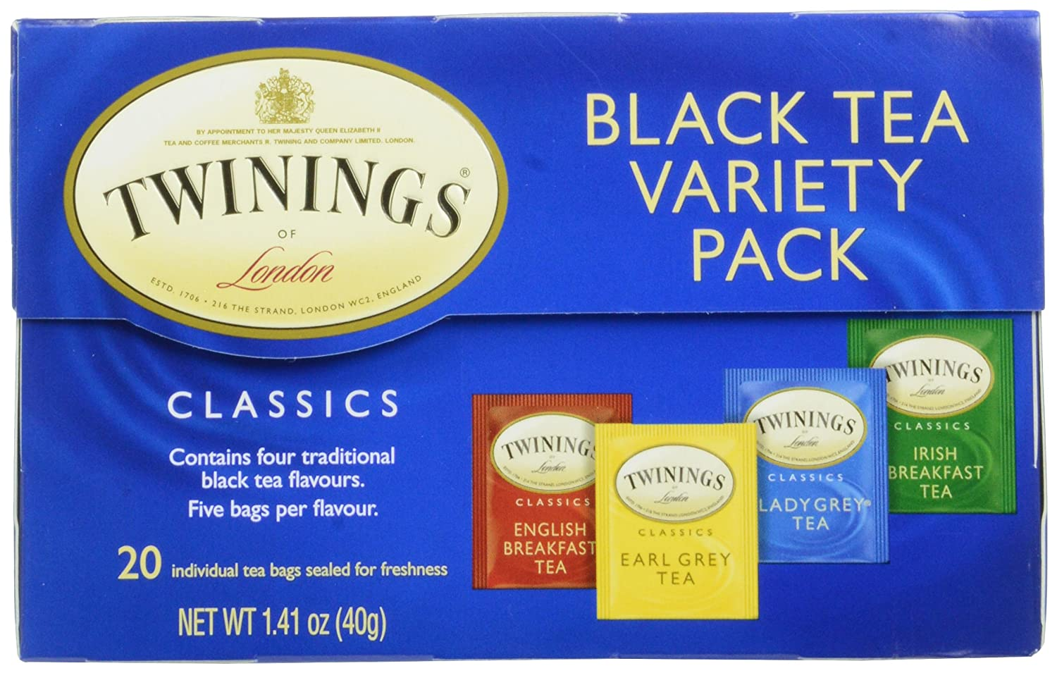 Twinings of London Black Tea Variety Pack with Four Flavors,20 Count