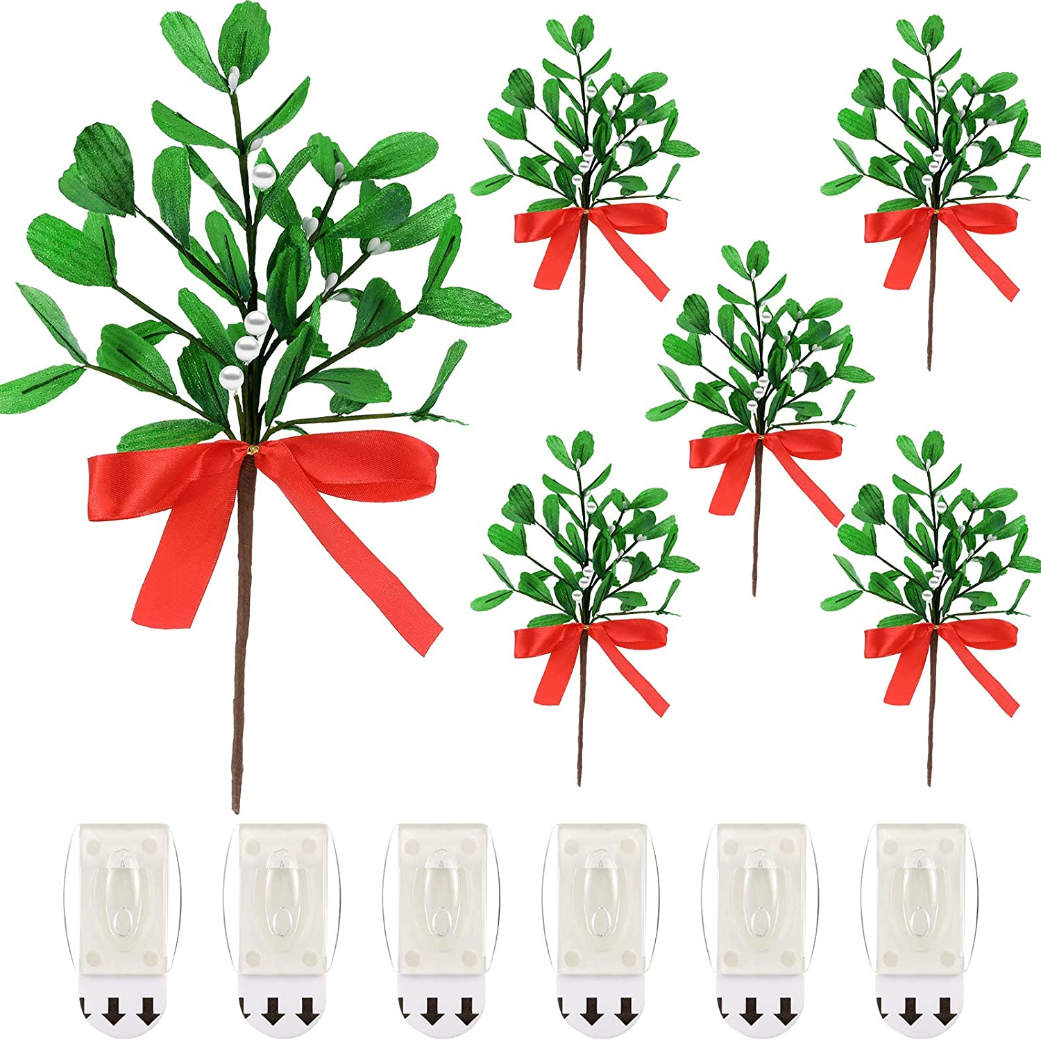 WILLBOND 6 Pieces Artificial Mistletoe Picks Christmas Fake Mistletoe Branches with Red Bow and 6 Pieces Sticky Hooks Adhesive Wall Hanging Hooks for Christmas Party Decor