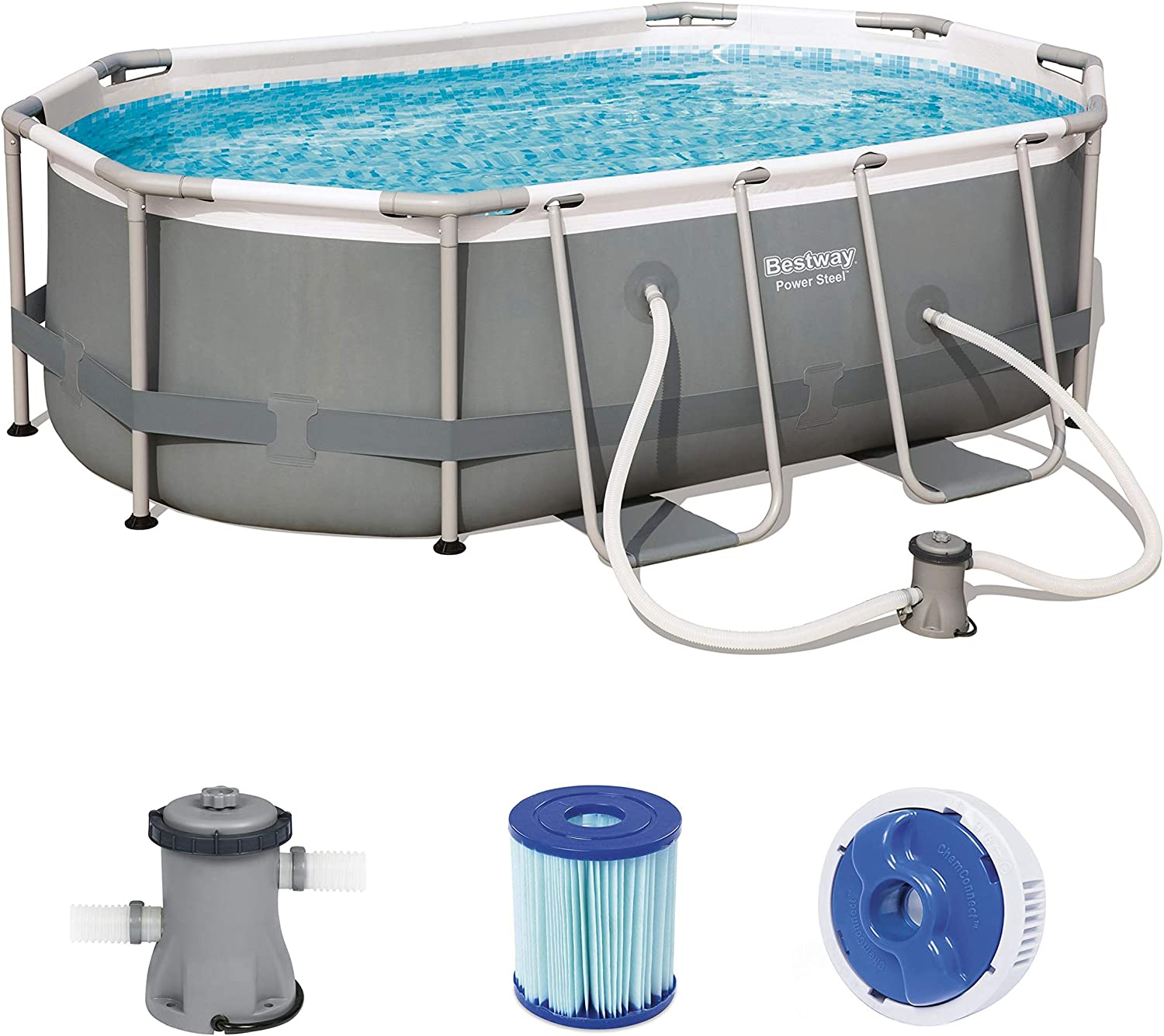 Bestway 56617 de GS19 Power Steel Pool 300 x 200 x 84 cm, Ovalado ...