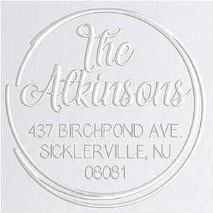 Address Embosser Seal Round Custom Monogram Embosser, Personalized Embossing Seal, Personalized Stamp, Hand Desk Embosser. for Office 1.65 inch (Seal 5)