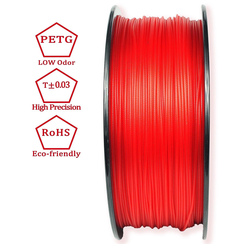 3d best-q transparente rojo PETG de 1,75 mm filamento impresora 3d ...