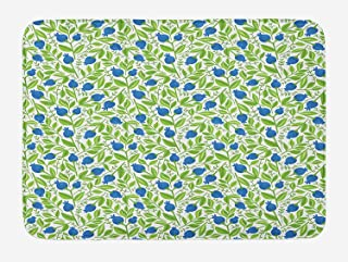 EJjheadband Blue And Green Bath Mat, Spring Season Berries with Blooming Leaves Lush Green Foliage, Plush Bathroom Decor Mat with Non Slip Backing, 29.5 W X 17.5 W Inches, Navy Blue And Fern Green