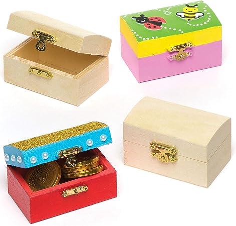 Baker Ross Cofres del Tesoro en Miniatura de Madera para Diseñar Pintar y Decorar. Manualidades Creativas para Niños Perfectas para Fiestas Infantiles (Pack de 4): Amazon.es: Hogar