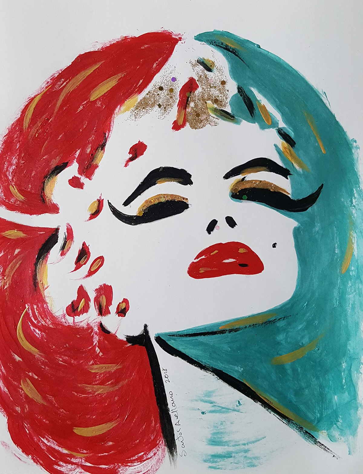 Marilyn Monroe - Abstract - POP - MEXICAN FOLK ART Style :: ORIGINAL PAINTING - Modern Painting on Heavy White Paper - SIZE:11''x8.5'' - Signed by the Artist